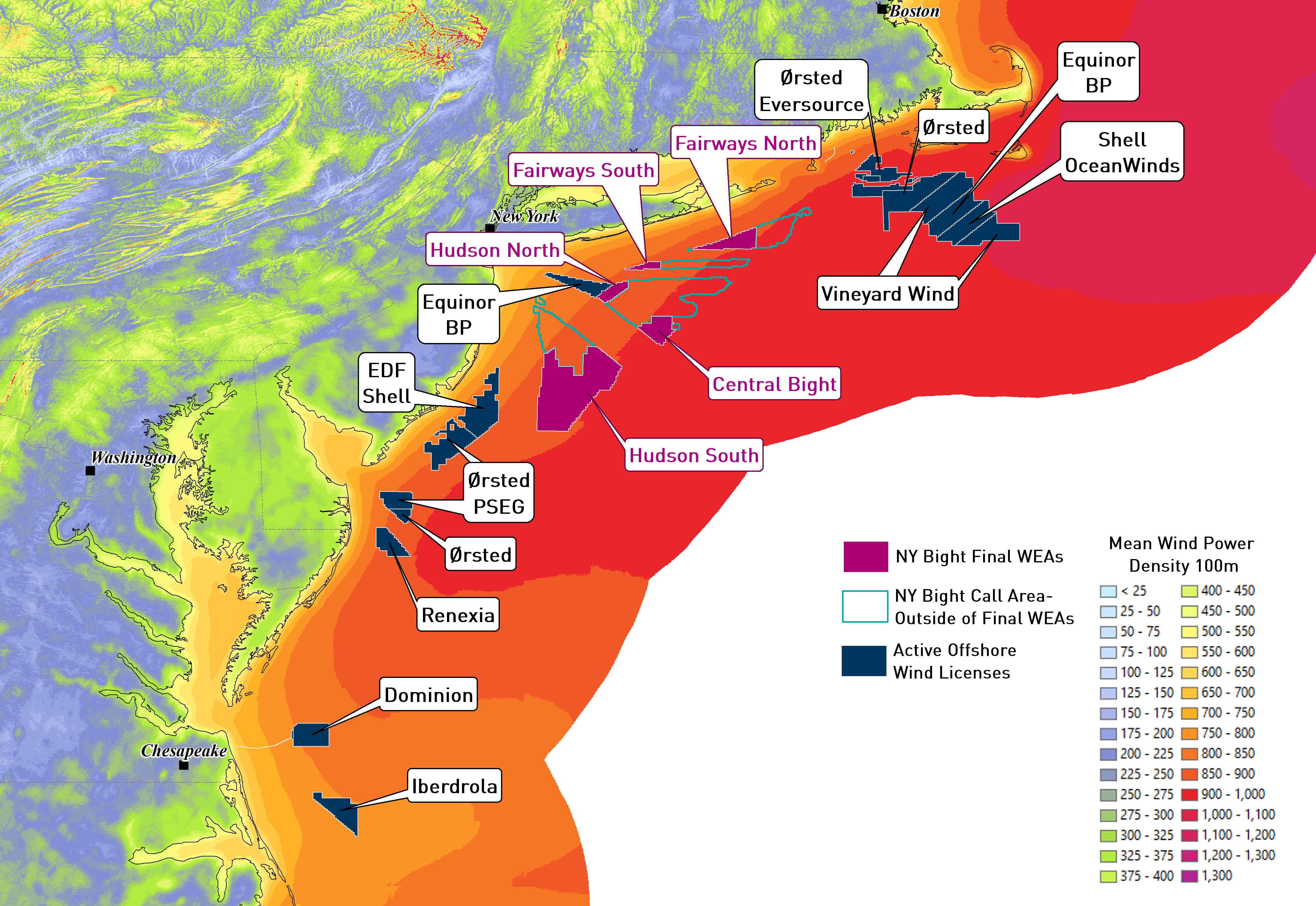 East Coast Wind Activity map- updated WEAs